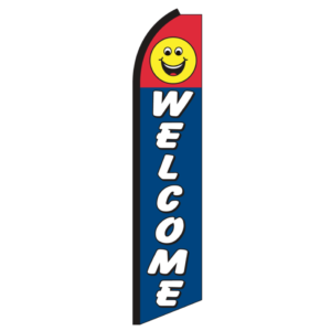 Welcome Drive In Swooper Flag Advertising Feather Flag Super Flag Happy Face